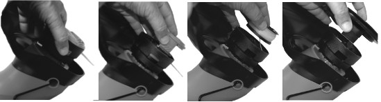 Picture showing how to dismantle the line housing of a trimmer with tabs.