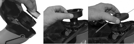 Picture showing how to dismantle the line housing of a trimmer with a threaded shaft.
